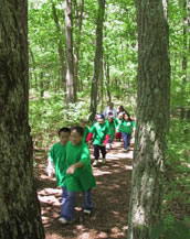 Childrens' Nature hike through the forest. Photo courtesy FREC