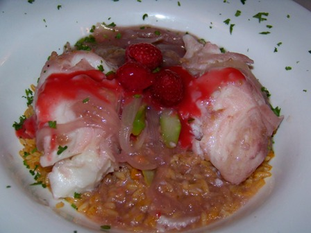 Sea Bass with raspberry coulee, from Spiaggia E Luna